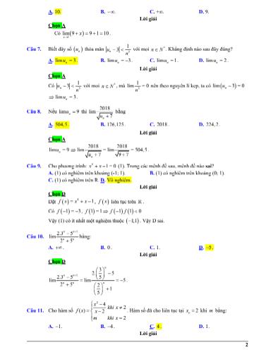 Đề kiểm tra chương 4 toán 11 - giới hạn , có đáp án