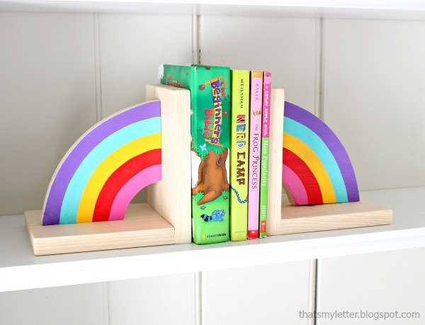 DIY rainbow bookends with free plans