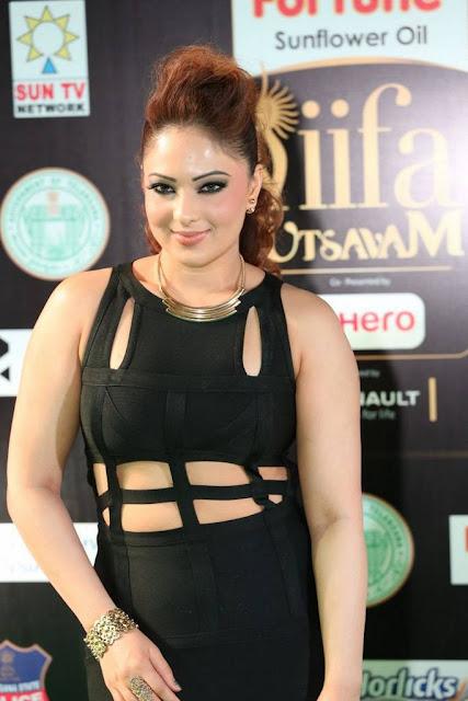 Nikesha Patel Latest Hot Cleveage Spicy Black Transparent Skirt PhotoShoot Images At IIFA Awards ❤