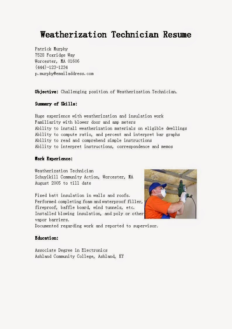 Resume Samples Weatherization Technician Sample