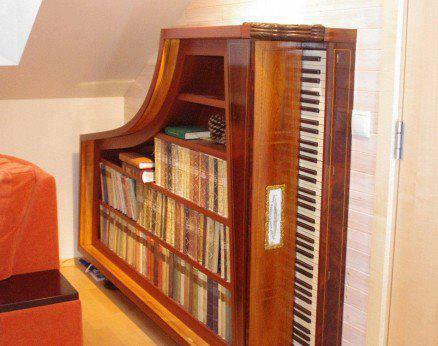 Dishfunctional designs the salvaged repurposed piano for Only books design apartment 8