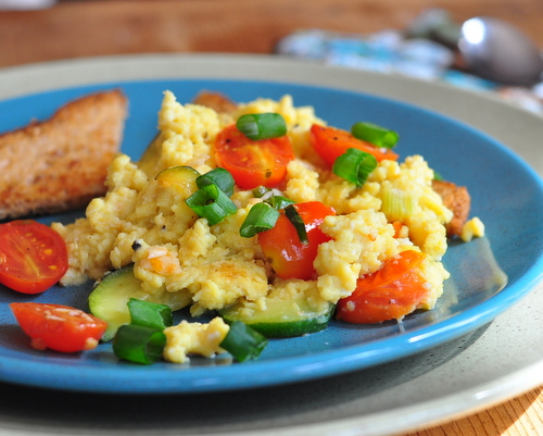 French Scrambled Eggs ♥ KitchenParade.com, eggs cooked low and slow, with a few vegetables. Sumptuous! Naturally Gluten Free. High Protein. Weight Watchers Friendly.