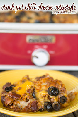 Crock Pot Chili Cheese Casserole from Recipes That Crock featured on SlowCookerFromScratch.com