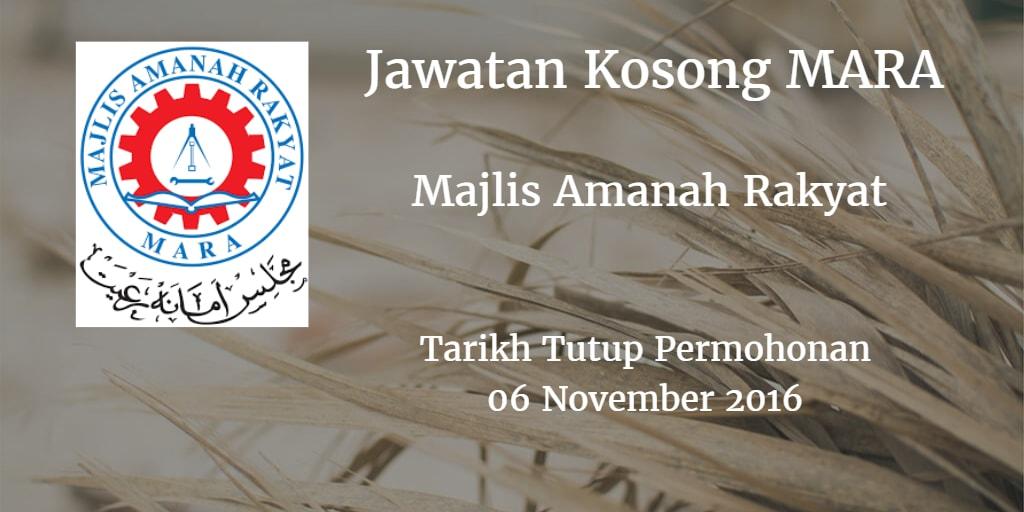 Jawatan Kosong MARA 06 November 2016