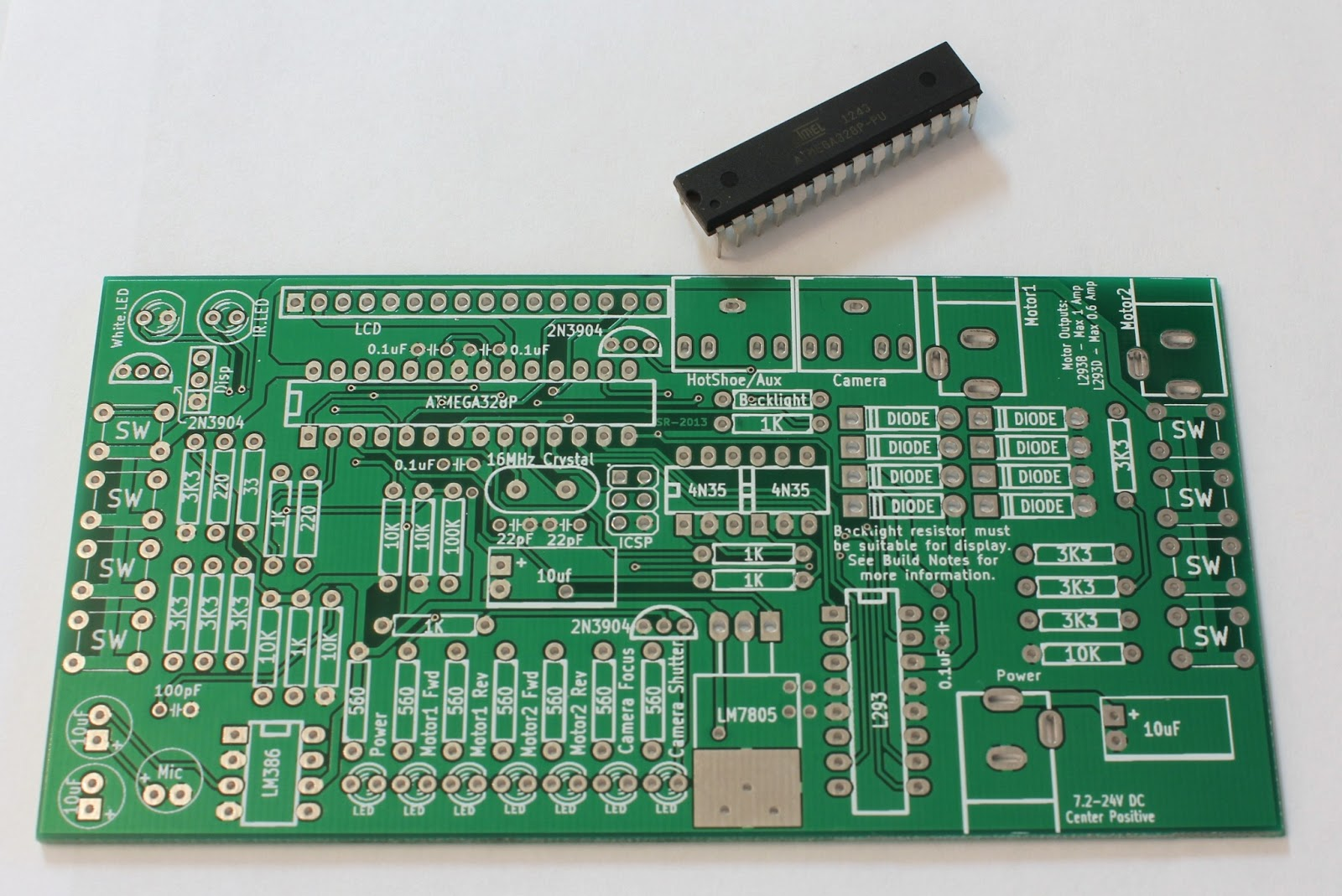 Jsr Intervalometers Intervalometer Diy General Build Notes Printed Circuit Board Assembly Pcb What You Will Get When Order Your Kit Is A And Atmega 328 Microcontroller Pre Programmed With The Software