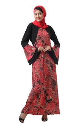 Model Gamis Batik Kombinasi Polos untuk anak muda