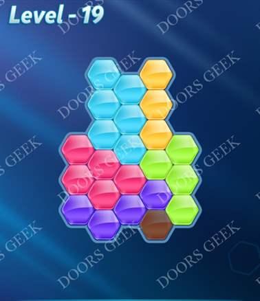 Block! Hexa Puzzle [6 Mania] Level 19 Solution, Cheats, Walkthrough for android, iphone, ipad, ipod