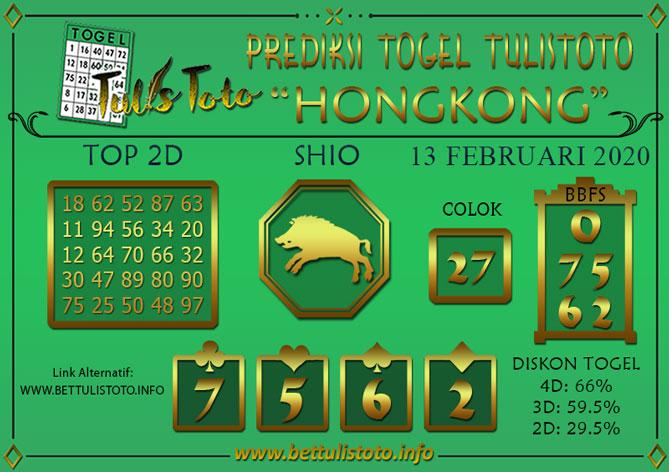 Prediksi Togel HONGKONG TULISTOTO 13 FEBRUARI 2020