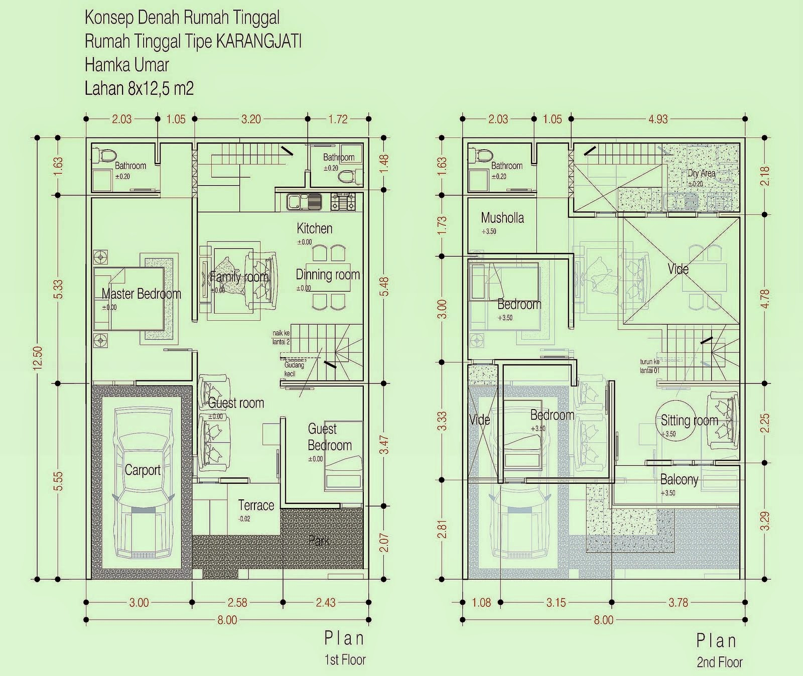 Denah Rumah Minimalis 2 Lantai Dengan 5 Kamar Tidur