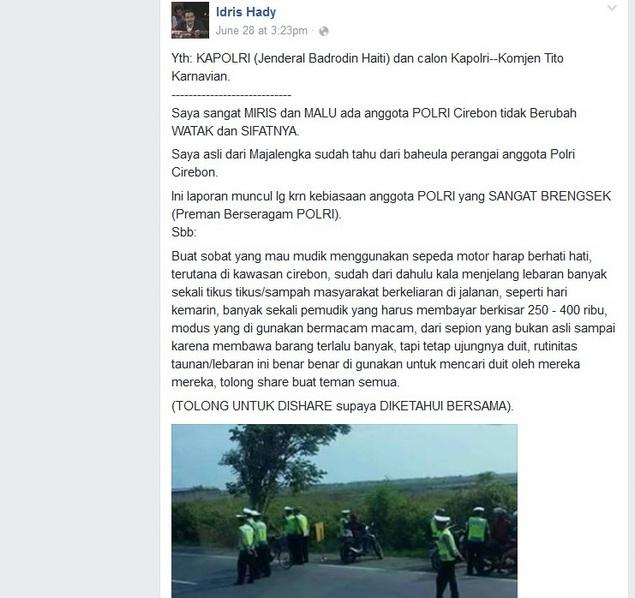 Tingkah Polisi Cirebon Semakin Meresahkan, Orang Ini Surati Kapolri