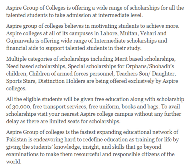 Aspire Group of Colleges Scholarships for Intermediate Students National Scholarship