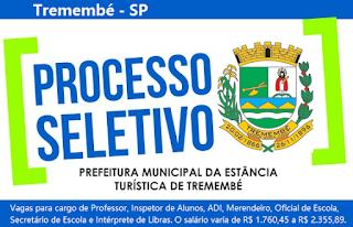 Prefeitura de Tremembé: lança edital processo seletivo para área da Educação