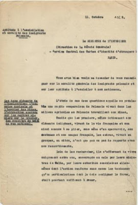 Rapport du préfet au ministre de l'intérieur sur l'aptitude à l'assimilation des polonais, 1929 (AD du Pas-de-Calais)