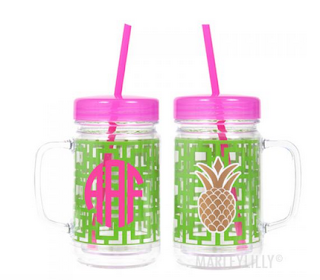 White Background of Pineapple Cup with Initials