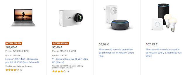 Grandes descuentos en cuatro altavoces Amazon Echo y tres Ofertas del Día de Amazon