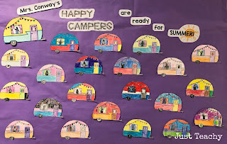 Happy Camper Bulletin Board Display, camping theme and activities