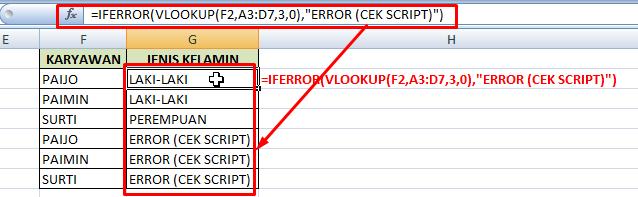 Contoh penggunaan fungsi iferror