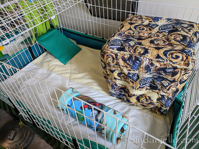 Guinea pig cage liners in a Midwest cage.