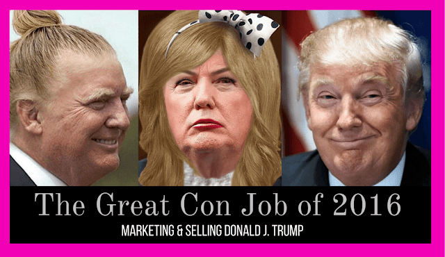 Three different photographs of Donald Trump to represent the many different faces of the candidate. The first photo is Trump with a man-bun, the second photo is Trump as a drag queen, and the third photo is Trump as a businessman.