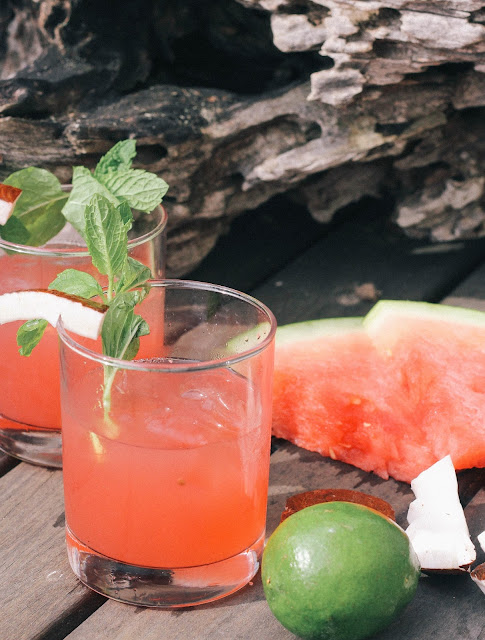 A watermelon coconut and lime summer cocktail