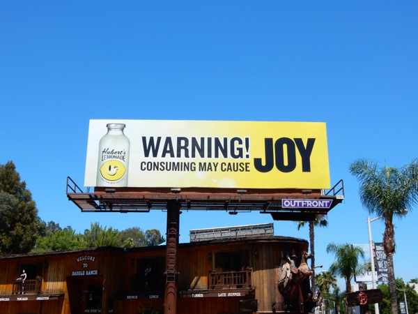 Huberts Lemonade Warning cause Joy billboard