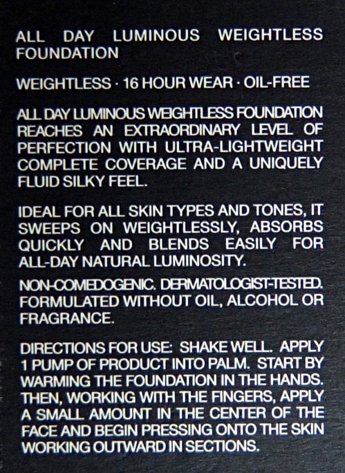 NARS All Day Luminous Weightless Foundation description