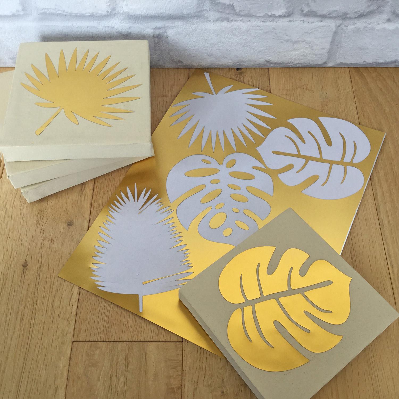 picture regarding Silhouette Printable Gold Foil known as Silhouette United kingdom: Mini Gold Foil Tropical Leaf Canvas Artwork