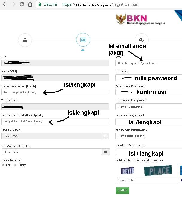 Cara Daftar CPNS Online Tahap Awal Pada Akun SSCN BKN