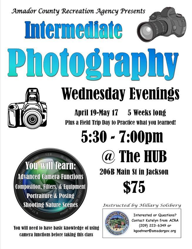 Intermediate Photography - Wed, Apr 19 thru May 17