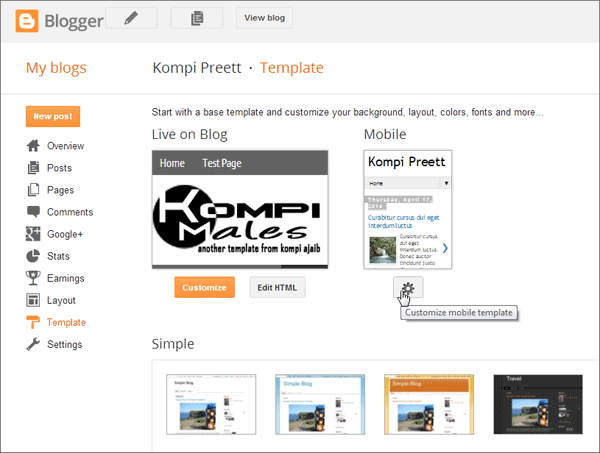 Setting Mobile Template Blogger
