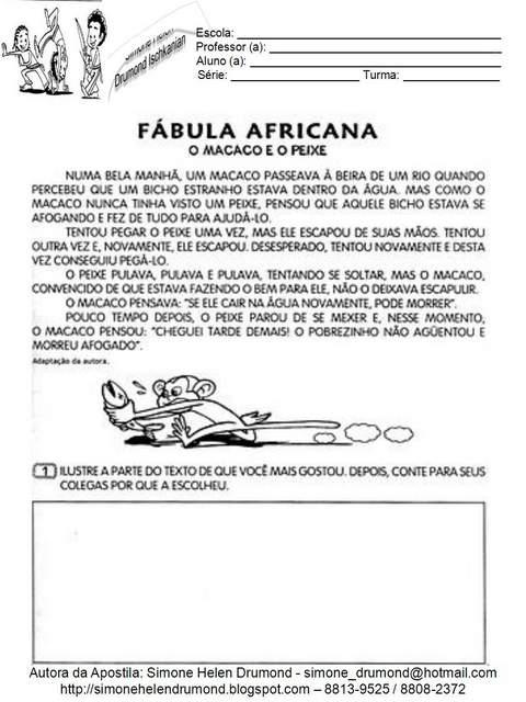 Fábula Africana: O Macaco e o Peixe - Consciência Negra.