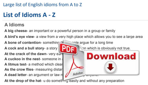 1000 Idioms and Phrases from A to Z with Meanings PDF Download