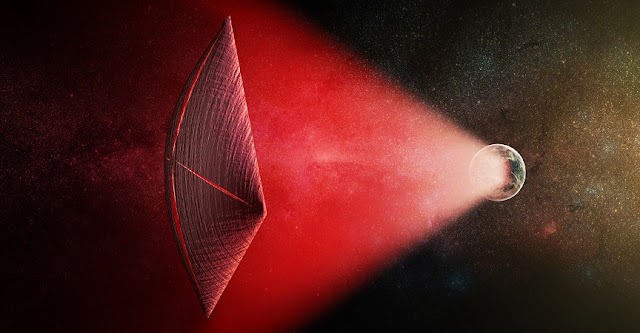 An artist's illustration of a light-sail powered by a radio beam (red) generated on the surface of a planet. The leakage from such beams as they sweep across the sky would appear as Fast Radio Bursts (FRBs), similar to the new population of sources that was discovered recently at cosmological distances. M. Weiss/CfA