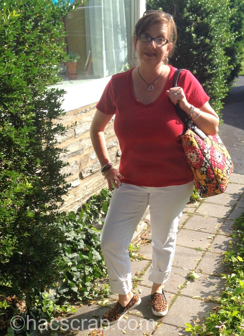 White Jeans, Red T-shirt, Animal Print slip-on Sneakers | Mid-Life Mom Fashion