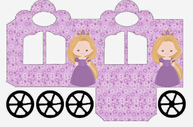 Bella Rapunzel: Caja con forma de Carruaje para Imprimir Gratis.