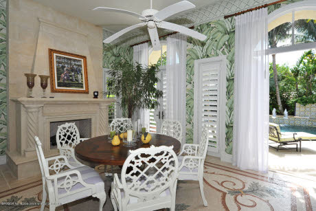 Superbe How Gorgeous Is This Patio With The Black And White Awning, Regency Style  Sideboard And Shell Backed Chairs?