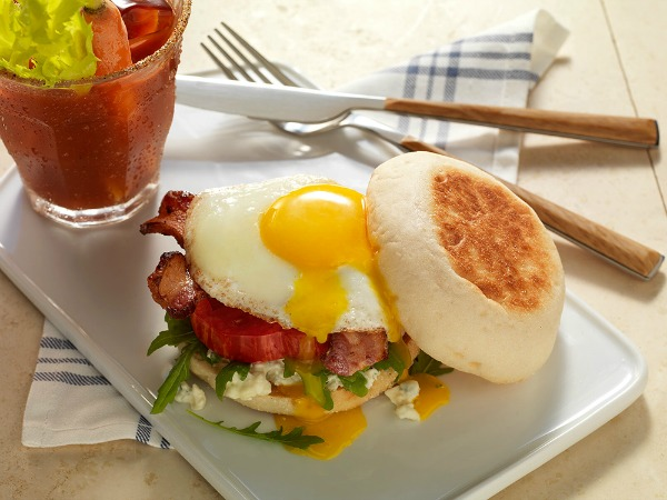 English Muffins with egg on top for breakfast