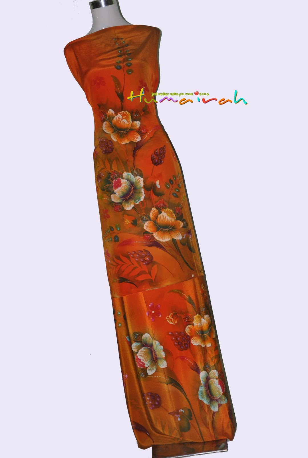 CX79 - Batik Sutera Handmade Exclusive Bunga Ros Oren 42