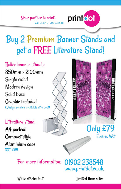SPECIAL OFFER - Buy 2 premium roller banners and get a FREE literature stand!