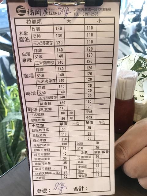 福岡屋拉麵菜單