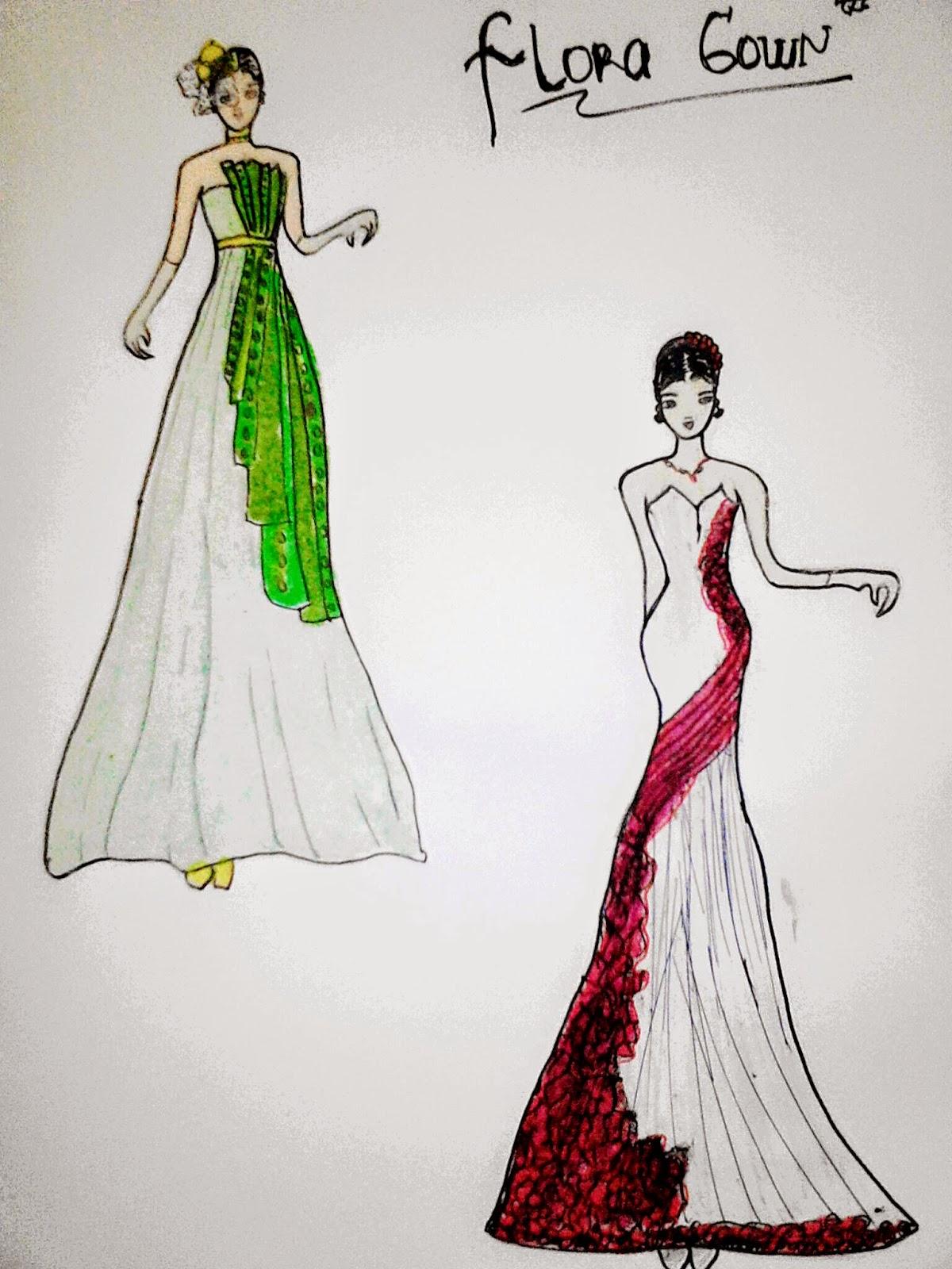 Sketsa Desain Baju Gaun Pesta Klopdesain