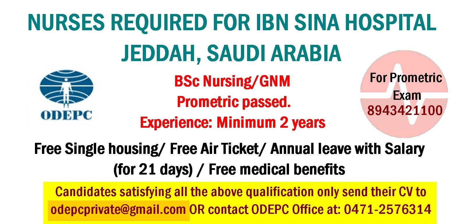 Nurses Job Vacancy Nurses Required For Ibn Sina Hospital Jeddah Saudi Arabia