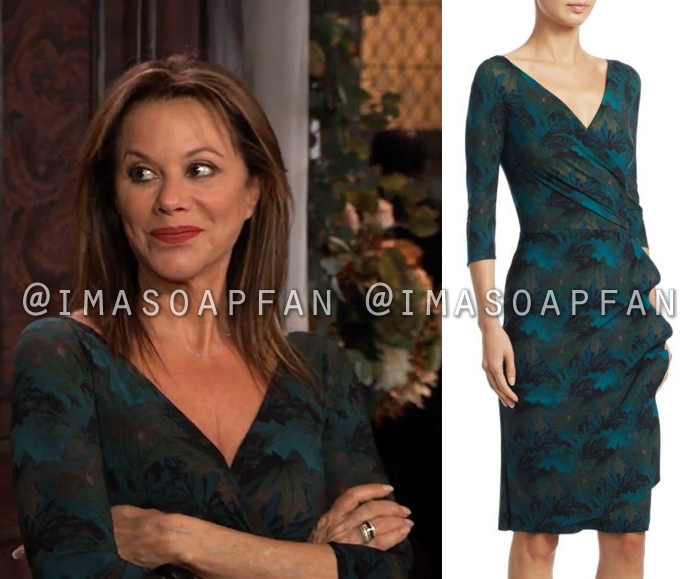 Alexis Davis, Nancy Lee Grahn, Green Print Wrap Dress with Ruched Side, General Hospital, GH