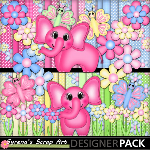 PInk Elephants DIgital Scrapbook Kit