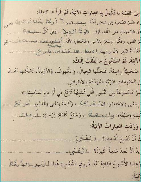 حل قصة النمر الأرقط مادة اللغة العربية للصف الرابع الفصل  الدراسى الاول 2020- مدرسة الامارات