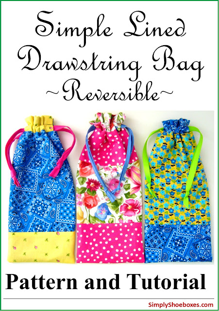 Drawstring bag pattern perfect for packing in Operation Christmas Child Shoeboxes.