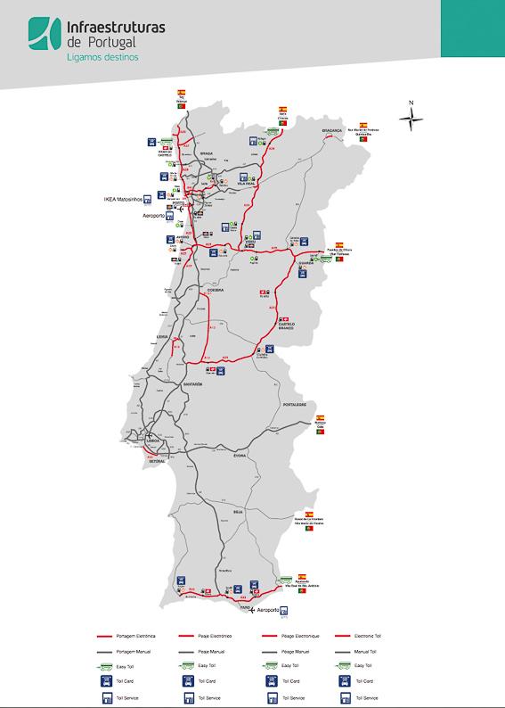 Mapa de las autopistas de Portugal
