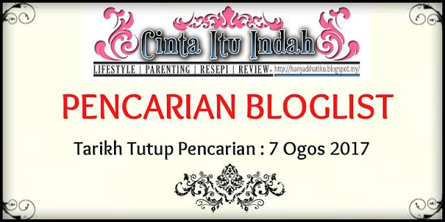 Pencarian Bloglist OGOS 2017