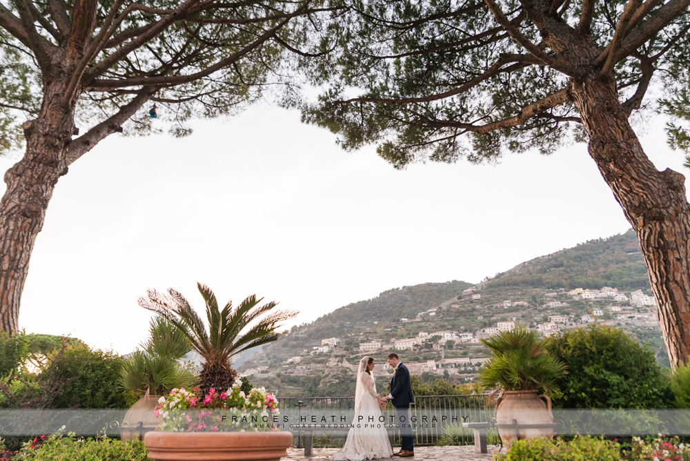 Bride and groom portrait in Ravello