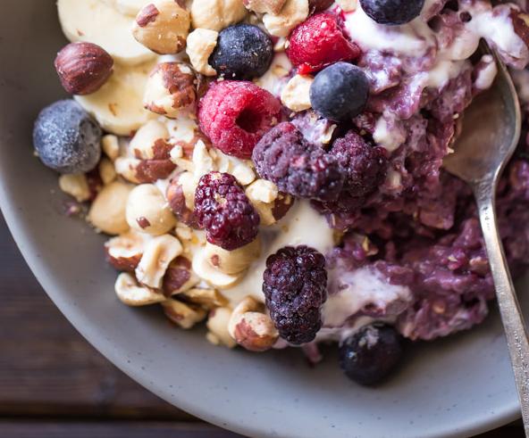 Triple Berry Oatmeal Breakfast Bowl